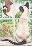 Siamese Cat and bird, 1995 (watercolour and pencil)