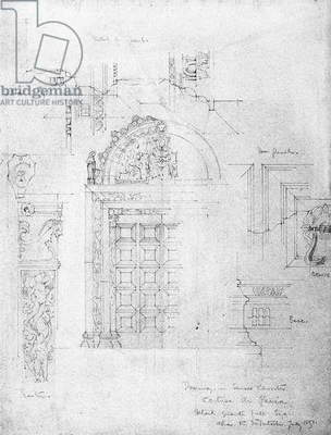 Doorway in Small Cloister, Certosa di Pavia, 1891 (pencil on paper)
