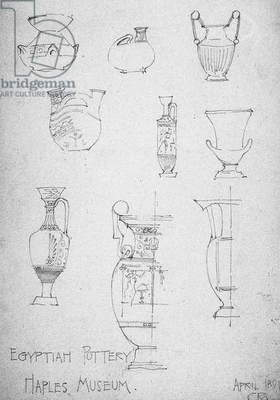 Egyptian Pottery, Naples Museum, 1891 (pencil on paper)