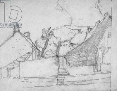 Sketch of English Village with Thatched Roof in Foreground, c.1920 (pencil on paper)