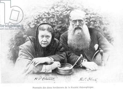 Elena Petrovna Blavatsky (1831-91) and Colonel Henry Steel Olcott (1832-1907), from 'Histoire Authentique de la Societe Theosophique' by Olcott, published in 1908 (b/w photo)