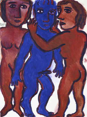 Looking from both sides, 1988 (acrylic on paper)