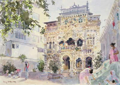 House on the Hill, Bombay, 1991 (w/c on paper)