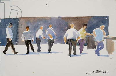 Men at the Phoencia Hotel, 2011 (w/c on paper)
