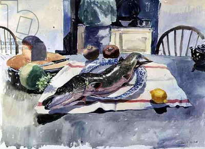 Pike on a Plate, 1986 (w/c on paper)