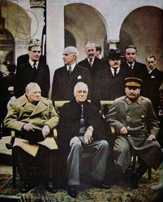 Winston Churchill, Franklin D. Roosevelt and Joseph Stalin at the Yalta Conference in February 1945 (photo)