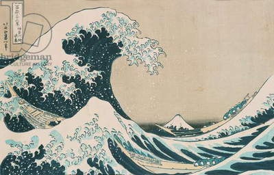 The Great Wave off Kanagawa, from the series '36 Views of Mt. Fuji' ('Fugaku sanjuokkei') pub. by Nishimura Eijudo (woodblock print)