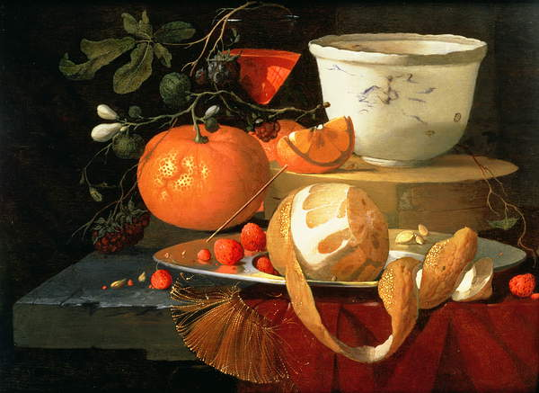 Image of Still life of an orange, a lemon and strawberry on a pewter plate, a wan-li bowl behind,©Johnny Van Haeften Ltd, London / Bridgeman Images