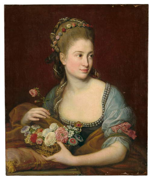 Portrait of a lady as Flora, half-length, holding a wicker basket of flowers, 1775 (oil on canvas) by Batoni, Pompeo Girolamo (1708-87), Unpublished until 2018 The identity of Batoni's beguiling sitter remains unknown but she is presented here as the goddess Flora, holding a basket of carnations, ranunculi, roses and jasmine, with further flowers and strands of pearls braided through her tall, powdered coiffeur. Photo © Christie's Images / Bridgeman Images.