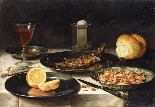 Image of a Herring with Capers and a Sliced Orange on Plates and a Bowl of Shrimp on a Table, (oil on panel), Photo © Christie's Images / Bridgeman Images