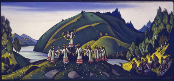 """Image of the decor for the ballet """"The Rite of Spring"""" by Igor Stravinsky, 1945 (tempera on canvas) by Roerich, Nicholas (1874-1947), © Fine Art Images / Bridgeman Images"""