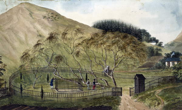 Image of Napoleon's Burial Place on St. Helena - Anonymous - 1833 - Watercolour on paper - 67,6x115,3 - Private Collection  by Anonymous Photo © Fine Art Images / Bridgeman Images