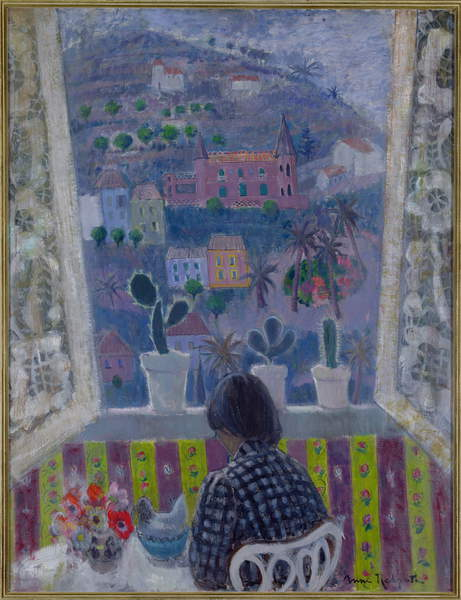 Window in Menton, 1948 (oil on plywood), Redpath, Anne (1895-1965) / Scottish, The Fleming-Wyfold Art Foundation, oil on plywood, 1948 (C20th), 109.2x83.8 cms, © Fleming-Wyfold Art Foundation / Courtesy of the Artist's Family / Bridgeman Images.