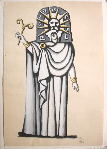 Image of Costume design of Oedipus for 'Oedipus Rex', gouache on paper, 47,5 x 32,5 cm, 1926 by Stravinsky, Théodore (1907-89), © Fondation Théodore Strawinsky / Bridgeman Images