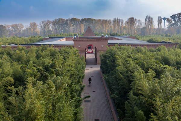 Image of Fontanellato, Labirinto della Masone, by Franco Maria Ricci: view of the buildings and the bamboo plants, (photo), Ricci, Franco Maria (b.1937) / Italian, (C21th) © Ghigo Roli / Bridgeman Images