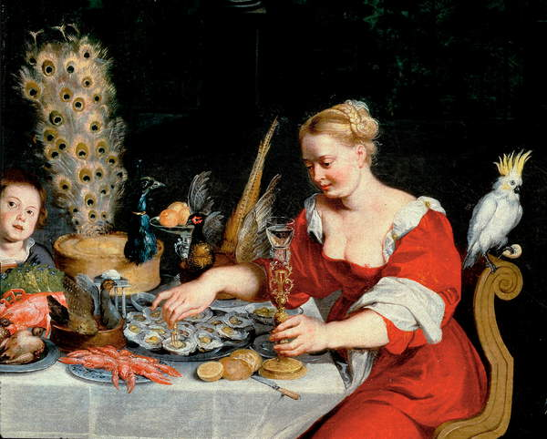 Image of woman eating oysters, detail from Allegory of Four Elements by Brueghel, Jan the Elder (1568-1625), © Iberfoto / Bridgeman Images
