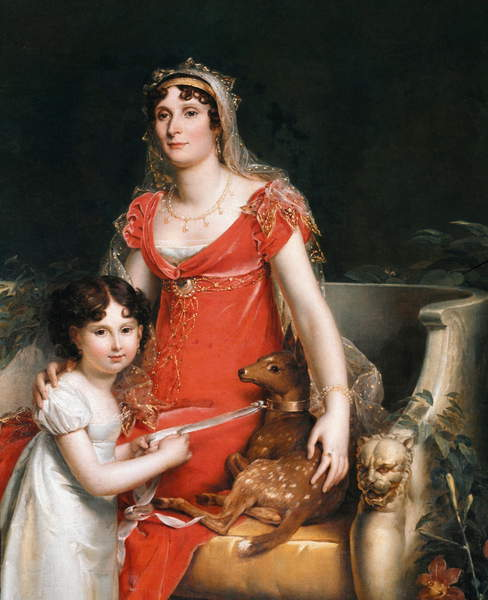 Image of a Portrait of Princess Elisa Bonaparte with he daughter  in the gardens Boboli in Florence., detail (oil on canvas) by Gerard, Francois Pascal Simon, Baron (1770-1837) , ©Luisa Ricciarini / Bridgeman Images