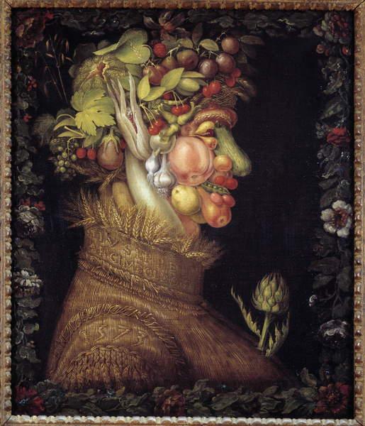 Image of 'The Summer. Allegory about the Seasons. Painting by Giuseppe Arcimboldo (1527-1593). Musee du Louvre, Arcimboldo, Giuseppe (1527-93) / Italian,Leonard de Selva, Photo © Leonard de Selva / Bridgeman Images