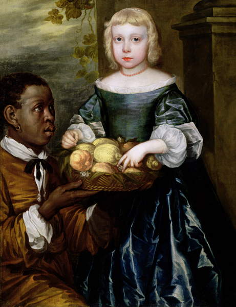 A Young Girl Being Offered a Basket of Fruit by a Servant, c.1650 (oil on canvas) by English School, (17th century), Private Collection, fruit = symbol of fertility; oranges and lemons = love; © Lawrence Steigrad Fine Arts, New York / Bridgeman Images