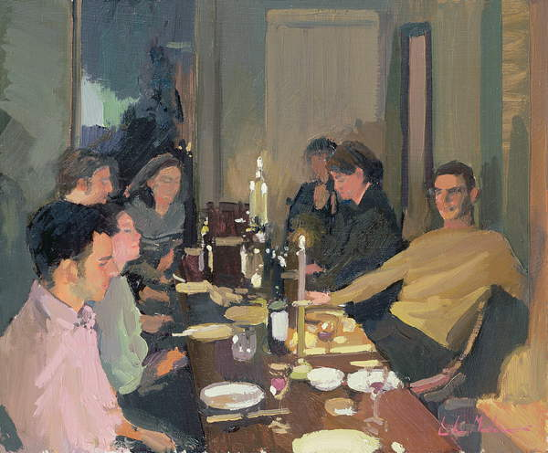 Dinner Party (oil on canvas) by Martineau, Luke