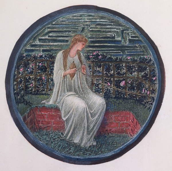 Photo of The Flower Book: XIV. Love in a Tangle, 1905 (litho with gouache on paper), Burne-Jones, Edward Coley (1833-98) / English, Private Collection, The Flower Book consists of thirty-eight watercolour roundels; Photo © Peter Nahum at The Leicester Galleries, London / Bridgeman Images