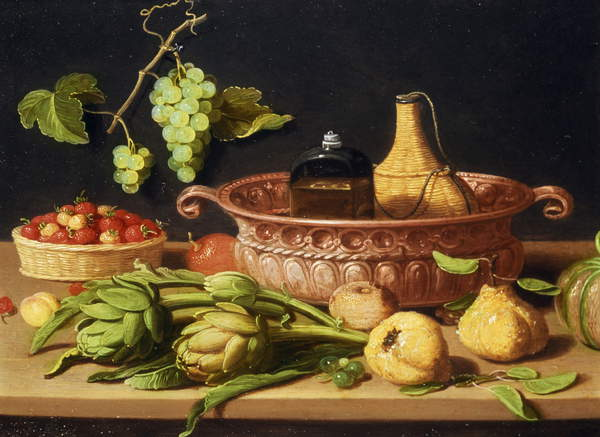 A Still Life with Artichokes (oil on copper), Kessel, Jan van, the Elder (1626-79) / Flemish, Private Collection, Photo © Rafael Valls Gallery, London, UK / Bridgeman Images.