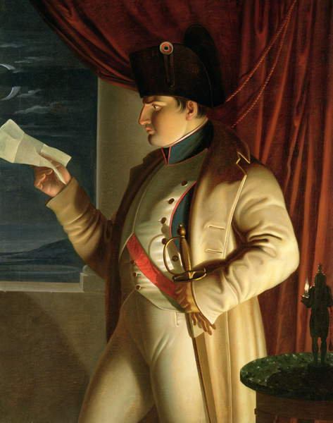Image of Napoleon (1769-1821) reading a letter by candle and moonlight, 1810 (oil on canvas) by Benvenuti, Pietro (1796-1844) © Tokyo Fuji Art Museum / Bridgeman Images