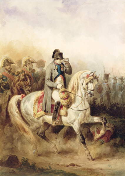 Image of Napoleon on a Grey Horse, 1839 (pencil, w/c and bodycolour on paper) by Bellange, Joseph-Louis-Hippolyte (1800-1866)© Wallace Collection / © Wallace Collection, London, UK / Bridgeman Images