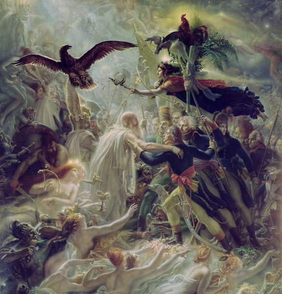 Image of The Apotheosis of the French Heros Who Died for Their Country During the War for Freedom,  God and Angels gracefully reach out to the troops from the left hand side of the painting. 1800-1802 (oil on canvas) by Girodet de Roucy-Trioson, Anne Louis (1767-1824), © Bridgeman Images