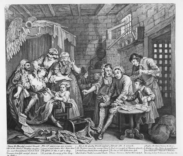 Scene VII: The Rake in Prison, 1735 (engraving) by Hogarth, William (1697-1764)