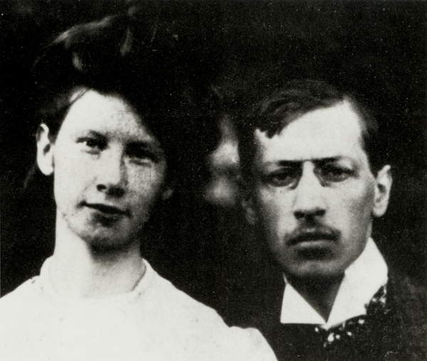 Image of Igor Stravinsky with his wife Catherine in 1907. Russian composer, 1882 - 1971,© Lebrecht Music Arts / Bridgeman Images