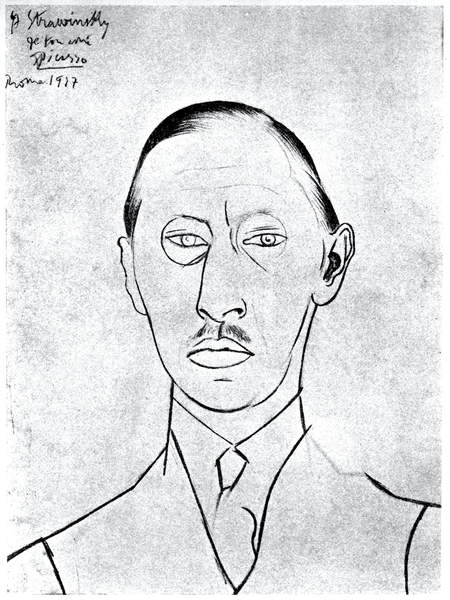 Image of a drawing of Stravinsky.  Igor  by by Picasso, Pablo (1881-1973) ©  Lebrecht Music Arts / Bridgeman Images