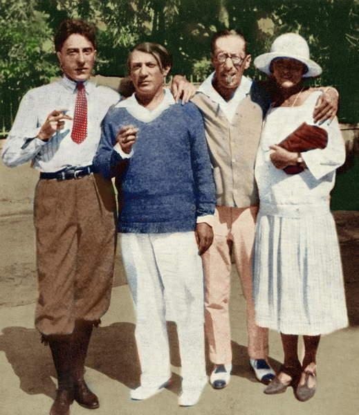 Jean Cocteau, Pablo Picasso, Igor Stravinsky and Olga Picasso, Antibes 1926