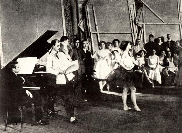 Image of Igor Stravinsky (1882-1971) at piano Stravinsky, Fokine and Karsavina during a rehearsal of L'Oiseau de Feu, / Firebird 1910 in the rehearsal room of the German Club, St Petersburg. Associated with Ballet Russe de Diaghilev. IS: Russian composer, 17 June 1882-6 April 1971, © Lebrecht Music Arts / Bridgeman Images