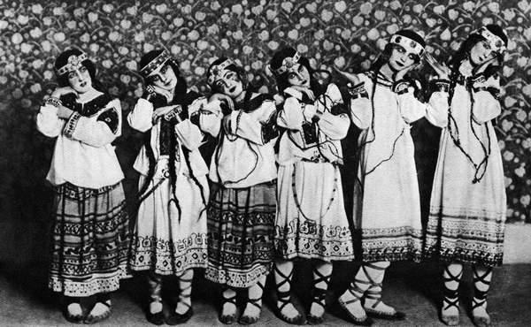 Image of Igor Stravinsky 's 'Rite of Spring' (The Adolescents)-original production at the Théâtre des Champs Elysées, Paris, 1913. Ballets Russes de Diaghilev. IS: Russian composer, 1882-1971. Photo by Charles Gerschel. Le Sacre du printemps. Strawinsky by André Schaeffner (Les éditions Rieder, Paris) Costumes by Nikolai Roerich © Lebrecht Music Arts / Bridgeman Images