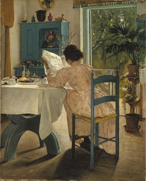 Image - At Breakfast, 1898 (oil on canvas), Ring, Laurits Andersen (1854-1933) / Danish, National Museum, Stockholm, Sweden, 81x102 cms, Artist's wife Sigrid Kahler, © Bridgeman Images
