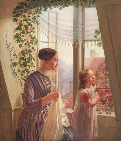 Image of Interior with mother and daughter by a window, 1853 (oil on canvas) by Smith, Ludvig August (1820-1906) © Bridgeman Images