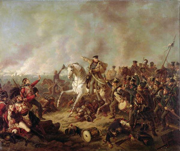 Image of The Battle of Waterloo (oil on canvas) by Kaiser, Friedrich (1815-90) © Bridgeman Images