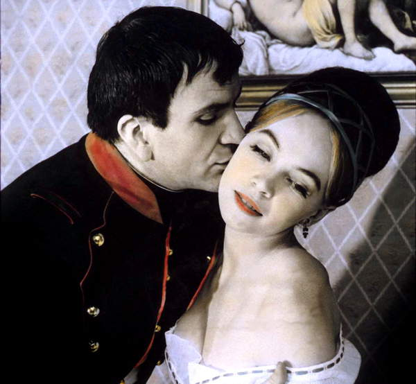 Image of Josephine & Napoleon, Napoleon shows affection to his wife with a kiss on the cheek.Austerlitz (The Battle of Austerlitz) d'Abel Gance avec Pierre Mondy (Napoleon) et Martine Carol (Josephine) 1960 © Bridgeman Images