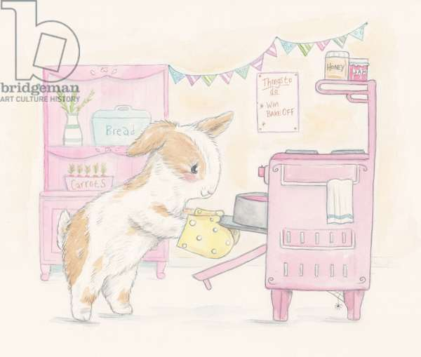 Bunny Bakes a Cake, 2016, (watercolour and pencil)
