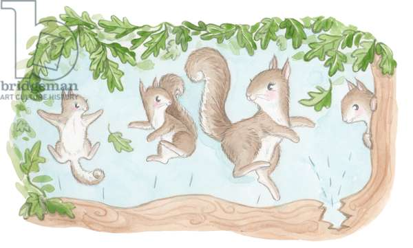 Jumping Squirrels, 2016 (watercolour)