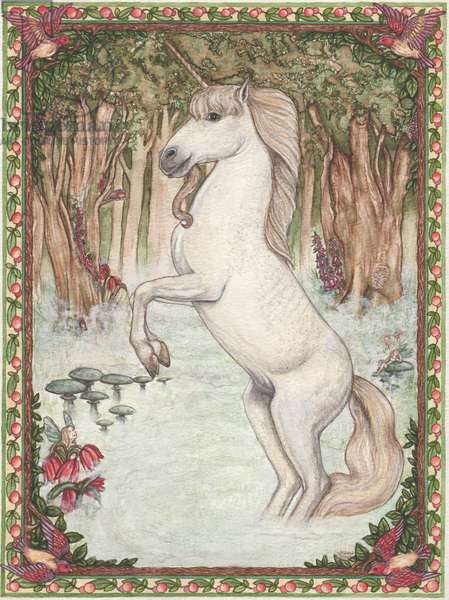 Unicorn In Fairywood, 1994 (watercolour)