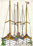 Boats at Rest (Fruit Salad), 2013, Collagraph