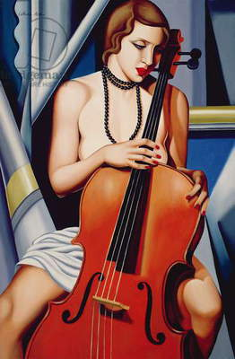 Woman with Cello (oil on canvas)