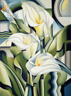 Cubist Lilies (oil on canvas)