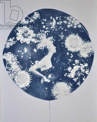 Callisto, 2014, (cyanotype with silver leaf on paper)