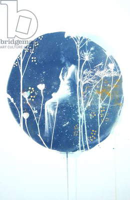 Garden Nights, 2015, (hand-painted cyanotype with 22 carat gold leaf on paper)