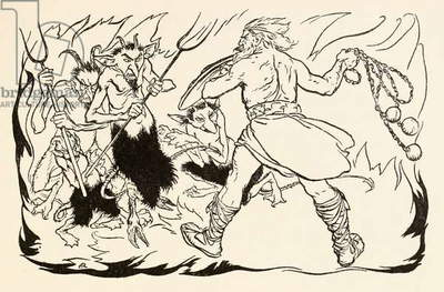 Goll mac Morna assaulting hell to rescue Fionn and the Fianna-Finn, from 'The Little Brawl at Allen' in 'Irish Fairy Tales'