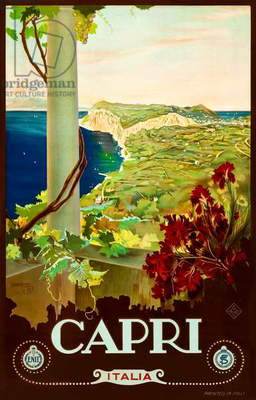 'Capri' 1920s Tourism Poster showing the view from the pergola at Villa San Michele  down the Sorrentine Peninsula with Mount Vesuvius in the far distance