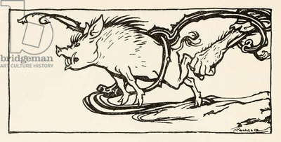 Carl catching a wild boar for his supper, from 'The Carl of the Drab Coat' in 'Irish Fairy Tales'